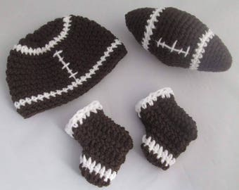 Go Team Go Baby Boy's American Football Hat and Booties Set with Soft Toy /Photo Prop/Baby Shower Gift