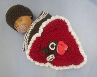 Valentine Heart Chocolate Box Handmade Crocheted Baby Cocoon / Baby Photography Prop/Baby Halloween Costume/ Baby's First Valentine's Set