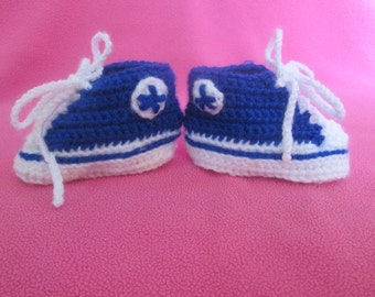 Hi- Top Handmade Crocheted Baby Sneakers/ Trainers Booties/ Newborn Photography Prop/ Baby Athletic Shoes