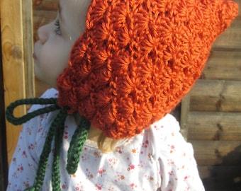 Pumpkin Pixie Handmade Crocheted Baby Bonnet/Toddler Bonnet/ Halloween Hat/Newborn Photography Prop/Christmas Gift