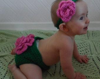Summer Rose Handmade Crocheted 2 Piece Baby Set/Baby Photo Prop/ Summer Baby Set/ Flower Diaper Cover/ Baby Flower Headband/ Flower Headband