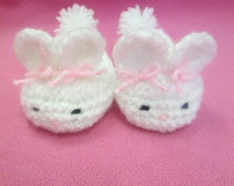 Baby's First Easter Bunny Handmade Crocheted Baby Booties/New Born Gift/Baby Shower Gift/ Baby Bunny Booties/ Crocheted Bunny Shoes