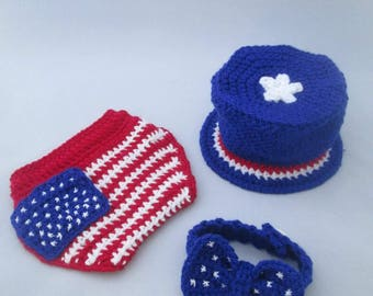 American Baby Boy Handmade Crocheted Fourth of July Set/ Baby Boy Independence Day Outfit/ American Flag Diaper Cover/ Baby Photography Prop