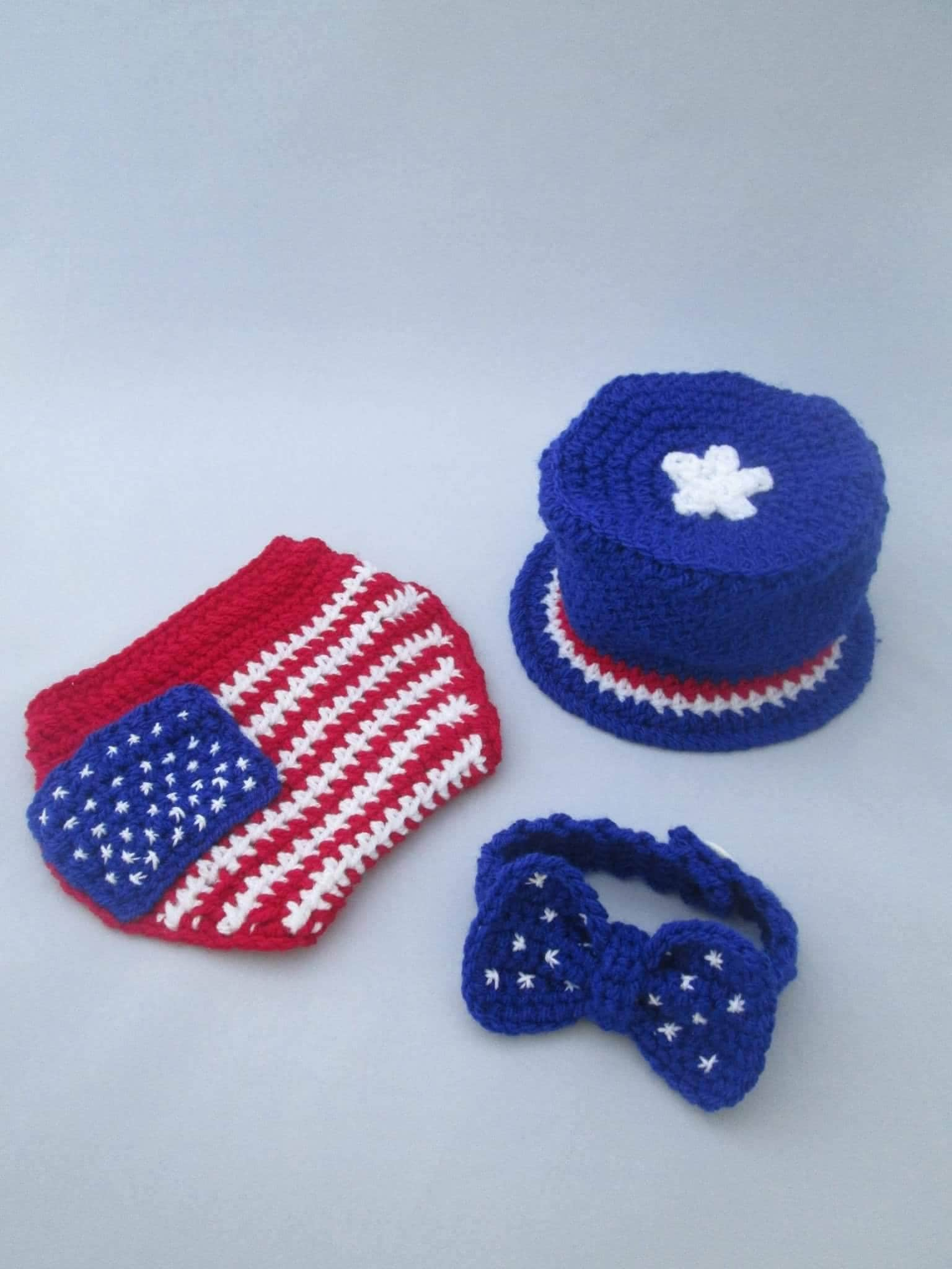 Newborn Baby July 4th Uncle Sam Top Hat and Diaper Cover-Hand Crochet-Photo Prop