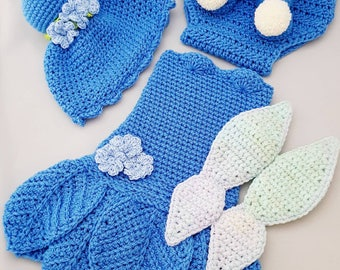 Baby Bluebell Fairy Handmade Crocheted Outfit/ Halloween Set/Baby Photography Prop/Christmas Gift/ Baby Fairy Costume/Fairy Wings
