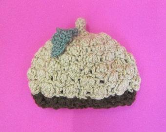 Baby Acorn Handmade Crocheted Beanie Hat/ Photo Prop/ Baby Gift/Newborn Photography Hat