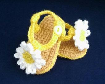 Daisy Summer Baby Handmade Crocheted Sandals/Baby Shoes/Baby Shower Gift/ Baby Sandals/ Baby Daisy Sandals/Summer Baby Shoes