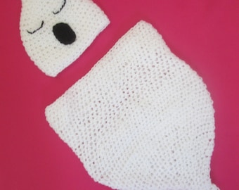 Gorgeous Ghost Handmade Crocheted Baby Halloween Set/Swaddle Sack/Baby Photography Prop/ Baby Ghost Costume/Halloween Baby Costume