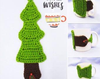 Christmas Tree Handmade Crocheted Coffee Cup Cozy