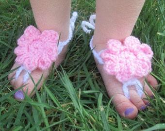 Fancy Flower Handmade Crocheted Toddler Barefoot Summer Sandals