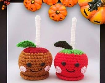 Handmade Crocheted Caramel and Candy Apple Amigurumi Dolls/Caramel Apple Plushy/ Candy Apple Plushy/ Autumn Decor/ Halloween Decoration