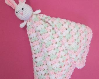 Beautiful Handmade Crocheted Baby Easter Bunny Lovey Blanket/Baby Shower Gift/ New Baby Gift/ Baby's First Easter/ Easter Bunny Blanket
