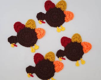 Christmas/Thanksgiving Handmade Crocheted Turkey Coasters/ Holiday Coasters/ Bar/Kitchen Decor/ Crocheted Coasters/ Reusable Coasters