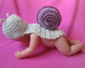 Little Slinky Snail Handmade Crocheted Baby Photography Prop/Baby Shower Gift/Baby Snail Costume