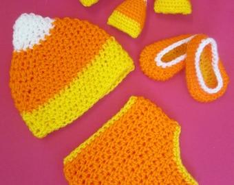 Baby Candy Corn Handmade Crocheted Halloween Set/Baby Candy Corn Outfit/Baby Halloween Costume/ Newborn Photography Prop/ Halloween Baby Set