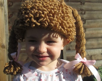 Cutie Doll Handmade Crocheted Baby Hat/ Toddler Doll Hat/Baby Halloween Accessory/Newborn Photography Prop/Baby Doll Wig