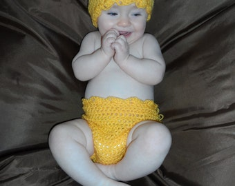 Baby Easter Yellow Chick Hat and Diaper Cover Set/Easter Handmade Crocheted Baby Outfit/Easter Chick Baby Costume/Baby Photography Prop