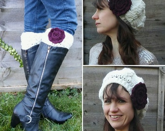 Women's Winter Rose Cabled Crocheted Hat and Boot Cuffs Set/ Boot Toppers/ Faux Leg Warmers/ Cream Winter Hat/ Women's Hat