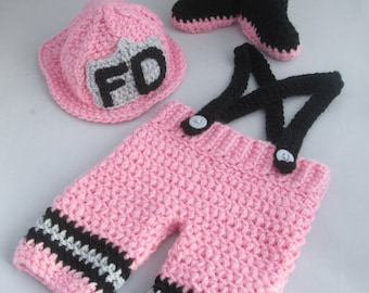 Newborn and Baby Girl Handmade Crocheted 3 Piece Firefighter Outfit/New Baby Girl Set/ Newborn Photography Prop/Baby Shower Gift