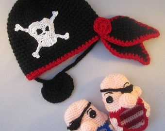 Pirate Baby Handmade Crocheted Hat and Booties Set /Baby Pirate Halloween Accessories/Newborn Photography Prop/Baby Shower Gift/ Pirate Baby