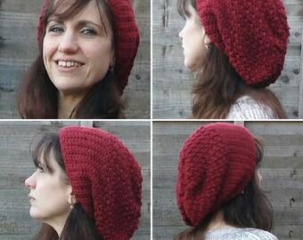 Double Stitch Handmade Crocheted Marsala Women's Slouchy Hat/ Wine Coloured Winter Hat