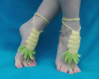 Pretty Pineapple Handmade Crocheted Barefoot Sandals/ Beach Sandals/ Festival Footwear/Wedding Shoes/Women's and Teens Barefoot Sandals