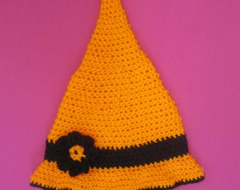 Toddler Witch Handmade Crocheted Hat/ Toddler Photography Prop/ Toddler Halloween Hat/ Toddler Witches Hat/ Girl's Witch Hat/ Witch Hat