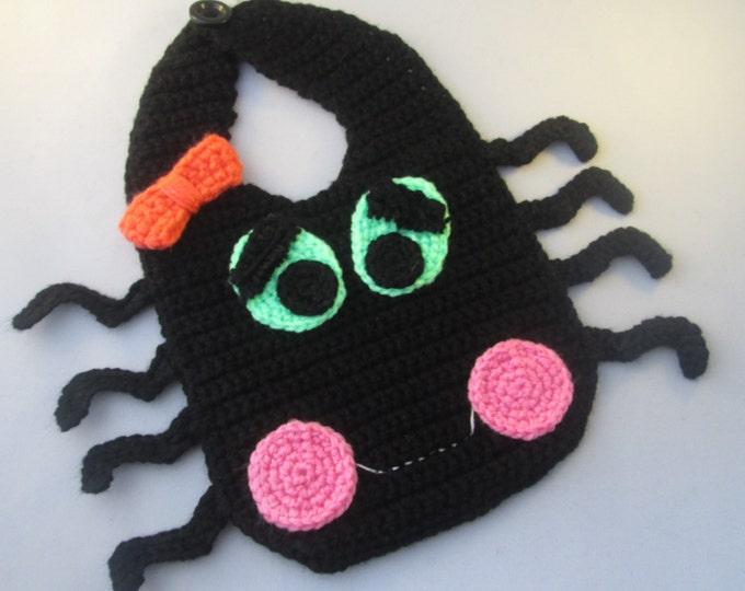 Featured listing image: Baby's First Halloween Handmade Crocheted Happy Spider Bib/ Baby Bib/ Halloween Bib/ Reusable Washable Baby's Bib