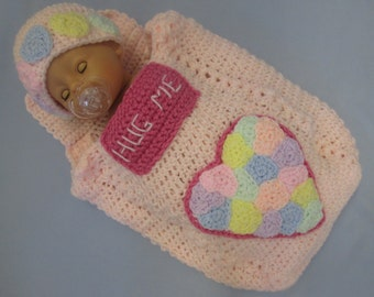 Baby Valentine Candy Heart Box Handmade Crocheted Cocoon/Baby Photography Prop/Baby Halloween Set/ Baby's First Valentine's Day Set