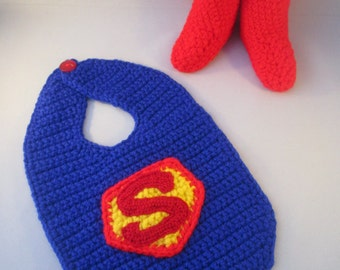 Superhero Baby Handmade Crocheted Bib and Boots Set/ Halloween Set/ Newborn Photography Prop/Christmas Gift/ Washable Bib