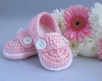 Baby Girl's Handmade Crocheted Loafer Style Booties/ Crocheted Pink Booties/ Baby Girl Gift/ Baby Shower Gift/ Girl's Loafer Booties