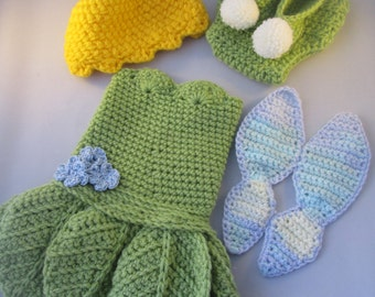 Baby Fairy Handmade Crocheted Outfit/ Halloween Set/ Photography Prop/Christmas Gift/ Baby Fairy Costume/Fairy Wings