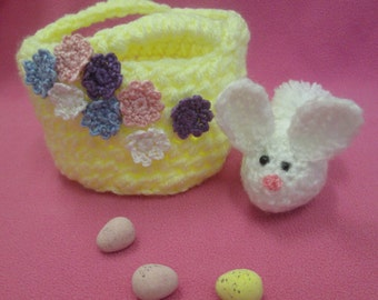 Handmade Crocheted Fillable Easter Basket with Amigurumi Bunny Toy