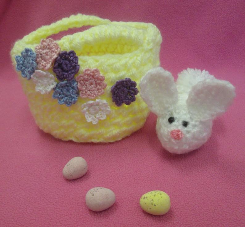 Handmade Crocheted Fillable Easter Basket with Amigurumi Bunny image 0