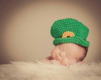 Baby Leprechaun Handmade Crocheted St. Patrick's Day Hat/ Leprechaun Baby Hat/Baby Photography Prop/ Baby's First St. Patrick's Day