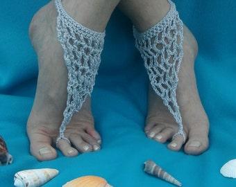 Silver Grey Chain Mail Effect Handmade Crocheted Summer Adult Barefoot Sandals/ Women's Barefoot Sandals/Beach Sandals/Festival Fashion