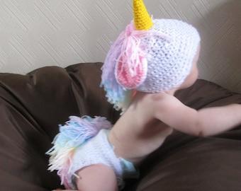 Mystical Unicorn Handmade Crocheted Baby Set/ Baby Photography Prop/ Baby Unicorn Costume/ Baby Unicorn Outfit/ Unicorn Baby Hat