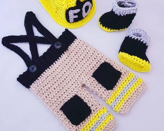 Newborn and Baby Boy Handmade Crocheted 3 Piece Firefighter Outfit/New Baby Boy Set/ Newborn Photography Prop/Baby Shower Gift