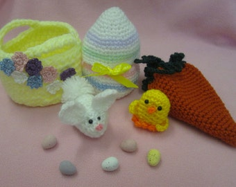 Set of Three Handmade Crocheted Fillable Easter Candy Holders/Easter Party Favors