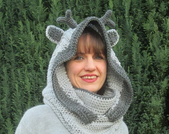 Silver Stag Handmade Crocheted Adult Hooded Cowl/Women's  Christmas Gift/Women's Winter Hat/ Crocheted Cowl/ Grey Hooded Cowl
