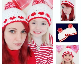 Mommy and Me Handmade Crocheted Valentine's Beanie Hats/ Valentine's Hat/ Crochet Beanie Hat/ Valentine's Day Gift Idea/ Newborn Hats