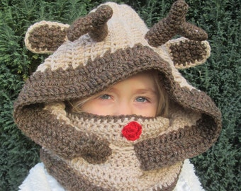Christmas Reindeer Handmade Crocheted Hooded Cowl for Babies/Toddlers/Children/Adults/ Christmas Gift/ Hooded Cowl/Brown Cowl