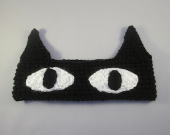 Black Cat Handmade Crocheted Ear Warmers for Baby/Toddler Ear Warmer/Child Ear Warmer/Christmas Gift/Stocking Stuffer/Crocheted Cat Headband