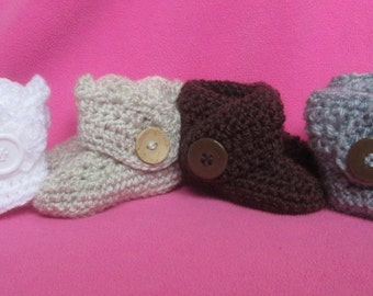 Handmade Crocheted Baby Snuggle Boots/ Christmas Shoes/ Stocking Stuffers/Baby Shower Gift/Baby Boots/ Baby Winter Boots/ Newborn Booties