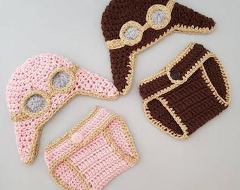 Baby Aviator Handmade Crocheted 2 Piece Set/ Baby Pilot Costume/ Aviator Baby Outfit/ Pilot Baby 2 Piece Set/ Aviator Costume/Pilot Baby Hat