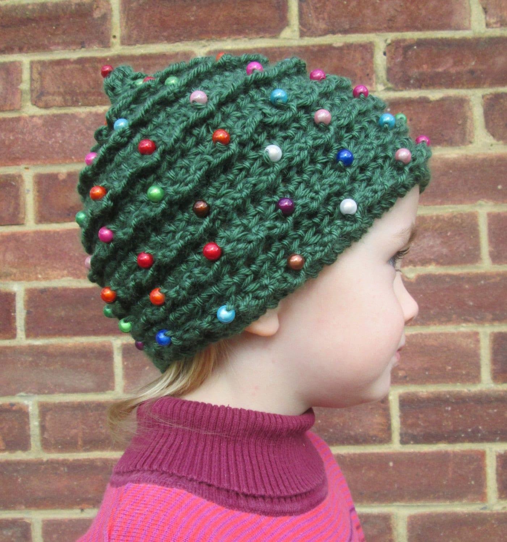 Christmas Tree Hats: Baby Beaded Christmas Tree Handmade Crocheted Beanie Hat