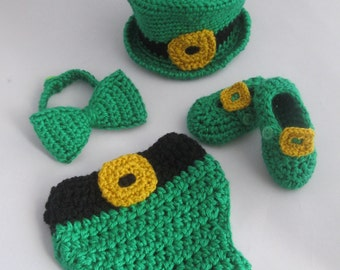 Baby Boy's Handmade Crocheted Little Leprechaun St. Patrick's Day Outfit/ Photography Prop/Halloween Set/ Baby Leprechaun Hat/Photo Props