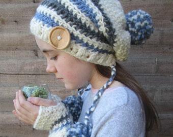 Nordic Winter Blues Handmade Crocheted Pom Pom Slouch Hat with Fingerless Gloves Set/Toddler/Child/Adult