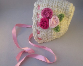 Winter Roses Newborn Baby Bonnet/ Newborn Photography Prop/Christmas Gift/Christening Gift/ Christening Bonnet/Crocheted Bonnet