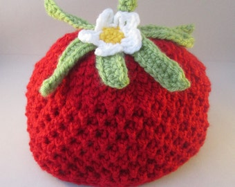 Sweet Strawberry Handmade Crocheted Baby Hat/ Toddler Strawberry Beanie Hat/Baby Christmas Gift/Baby Photography Prop/ Strawberry Hat